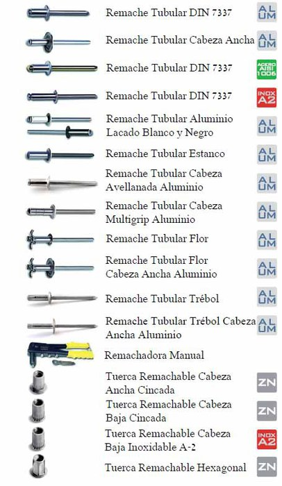 Remaches amasuin suministros directamente a su negocio for Precio de remaches de aluminio